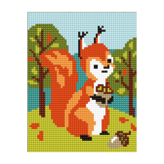 craftvim tapestry printed canvas squirrel with nut