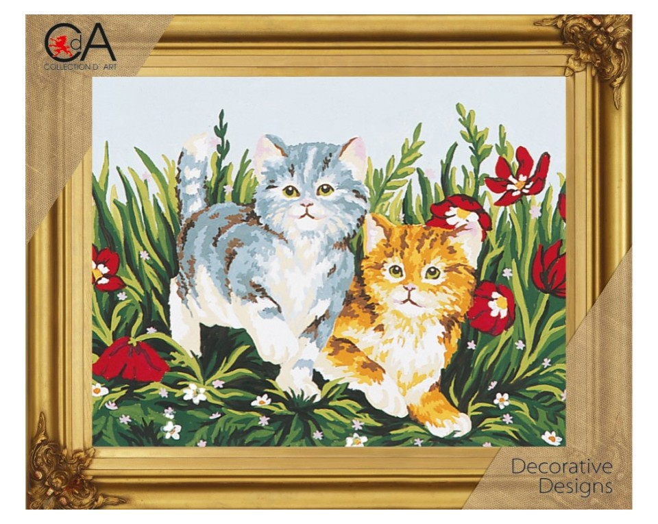 craftvim tapestry printed canvas two kittens in flowers