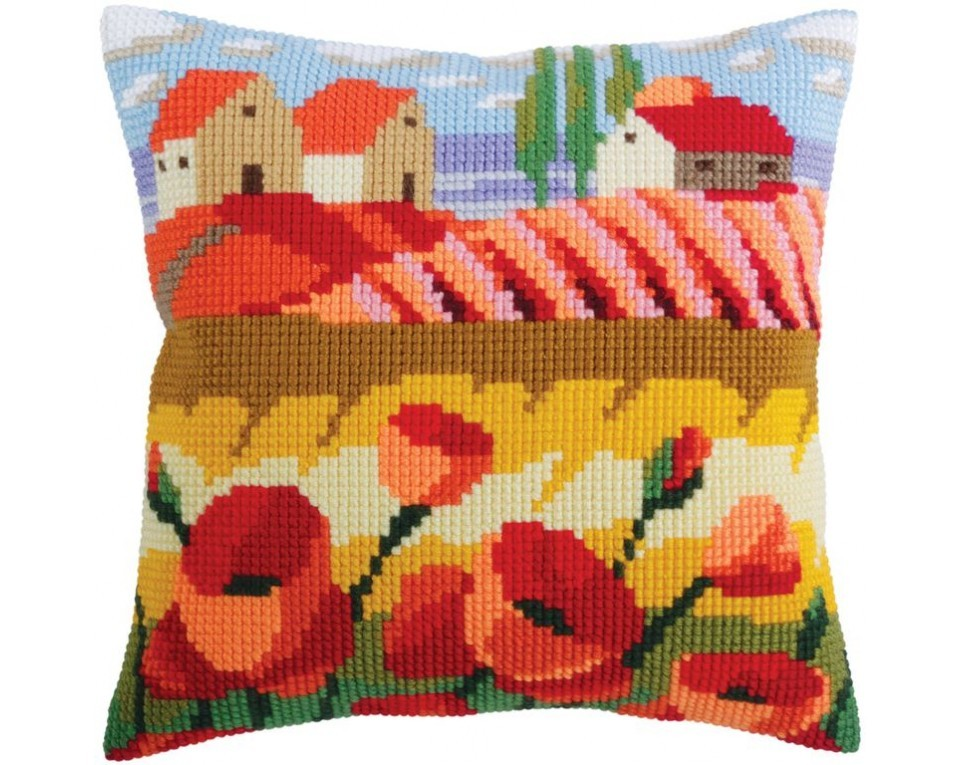 craftvim cross stitch cushion kit poppy field