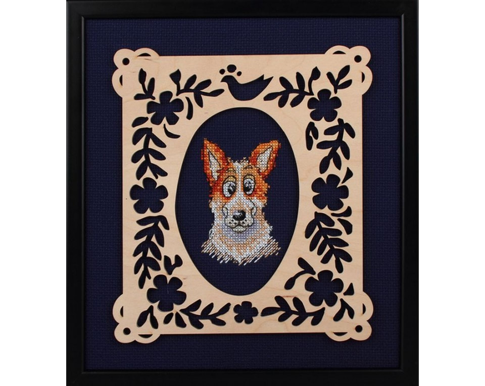 craftvim cross stitch kit with plywood decoration frame dog portrait