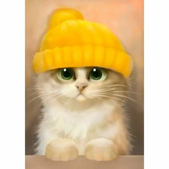 craftvim diamond painting kit kitten in yellow hat