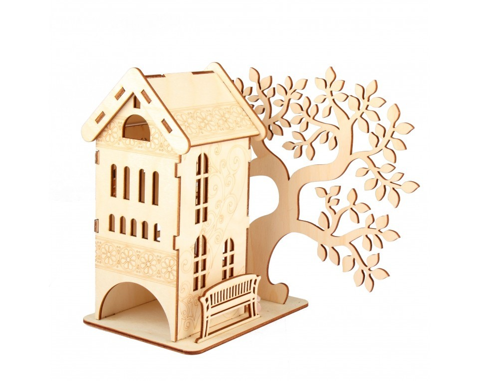 craftvim plywood tea house dispenser with wooden tree