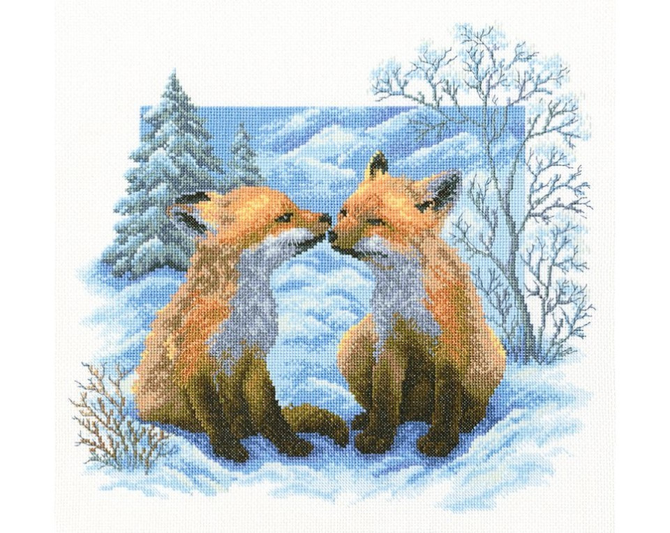 craftvim cross stitch kit two foxes in snow aida fabric