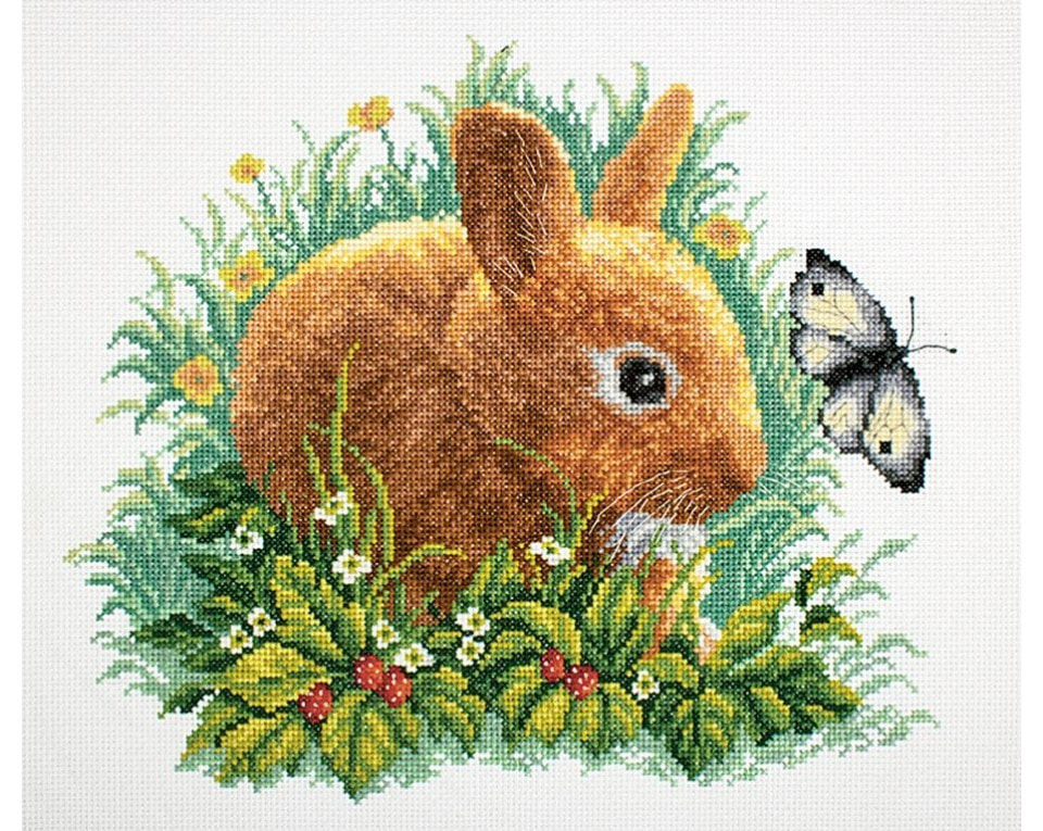 craftvim counted cross stitch kits with rabbit in grass butterfly aida fabric