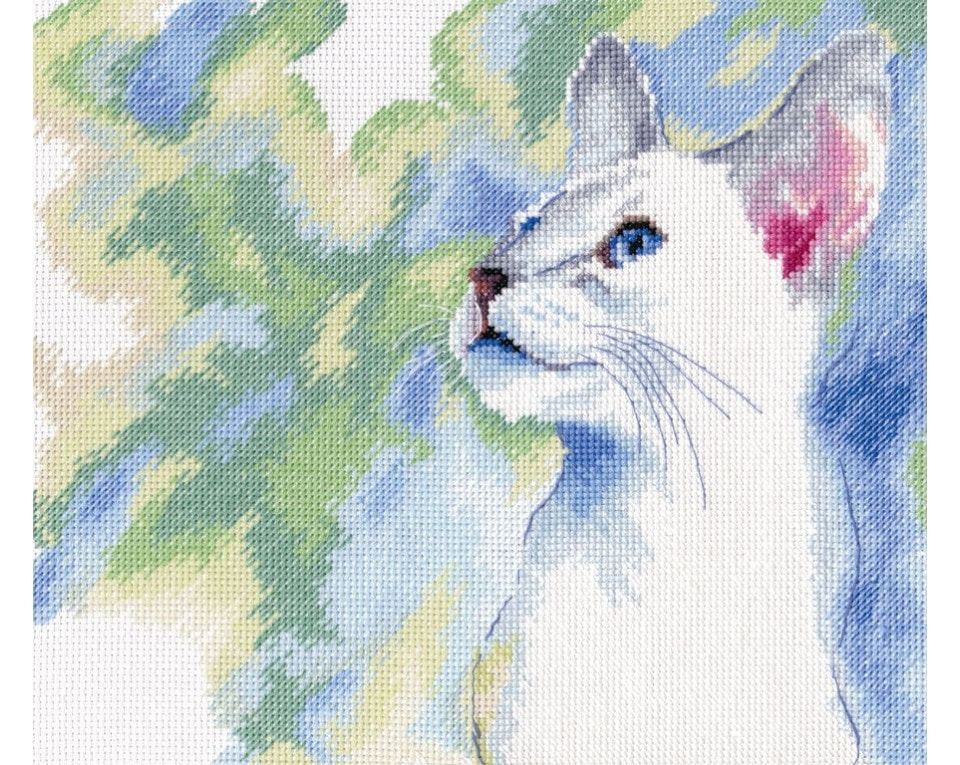 craftvim counted cross stitch kit watercolour white cat blue eyes