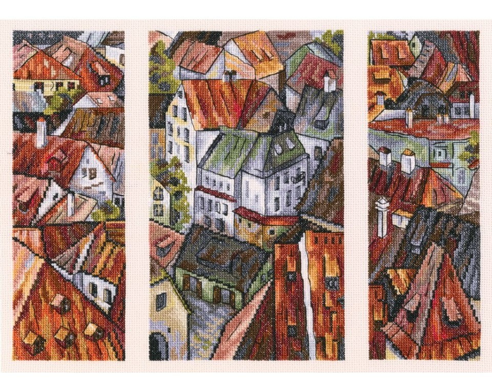 craftvim cross stitch kit red roofs old town aida fabric