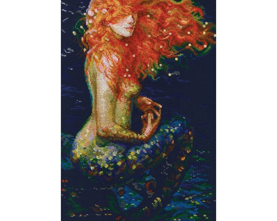 counted cross stitch kit ginger mermaid aida fabric