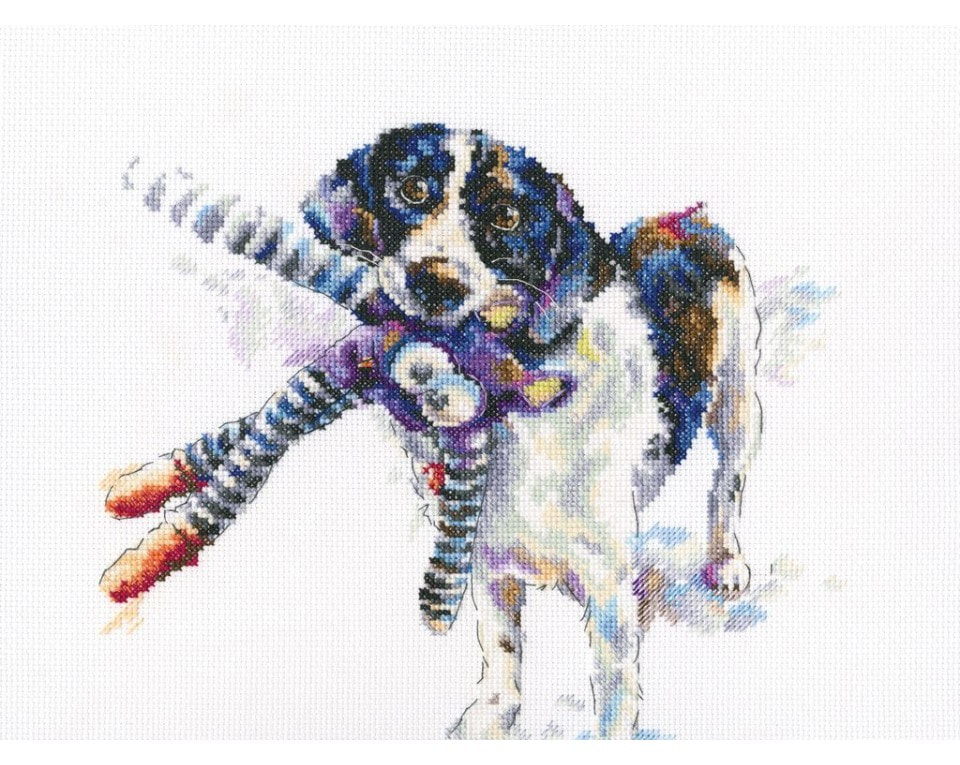 craftvim counted cross stitch kit watercolour border collie with toy