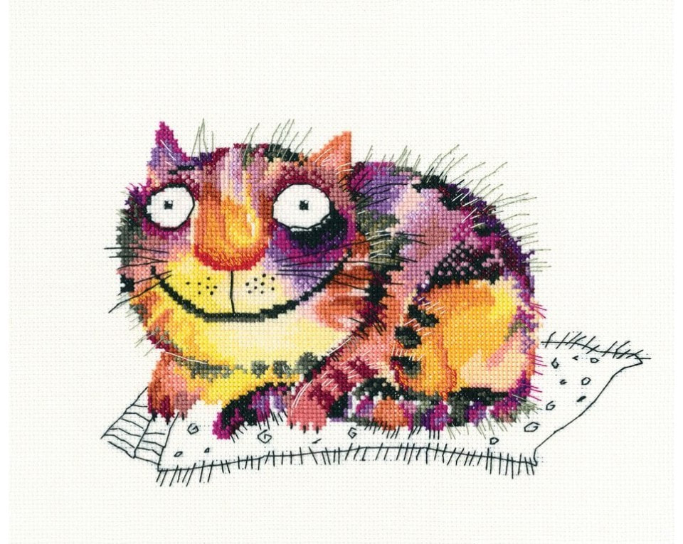 craftvim cross stitch kit smiling big cat aida fabric