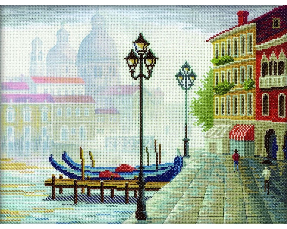 craftvim cross stitch kit venice in fog aida fabric